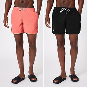 Black and coral swim trunks 2 pack