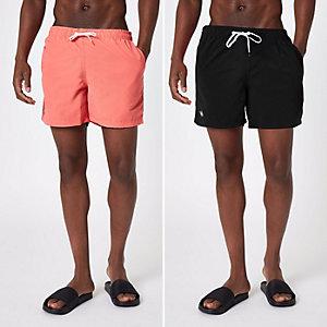 Lot de shorts de bain noir et corail