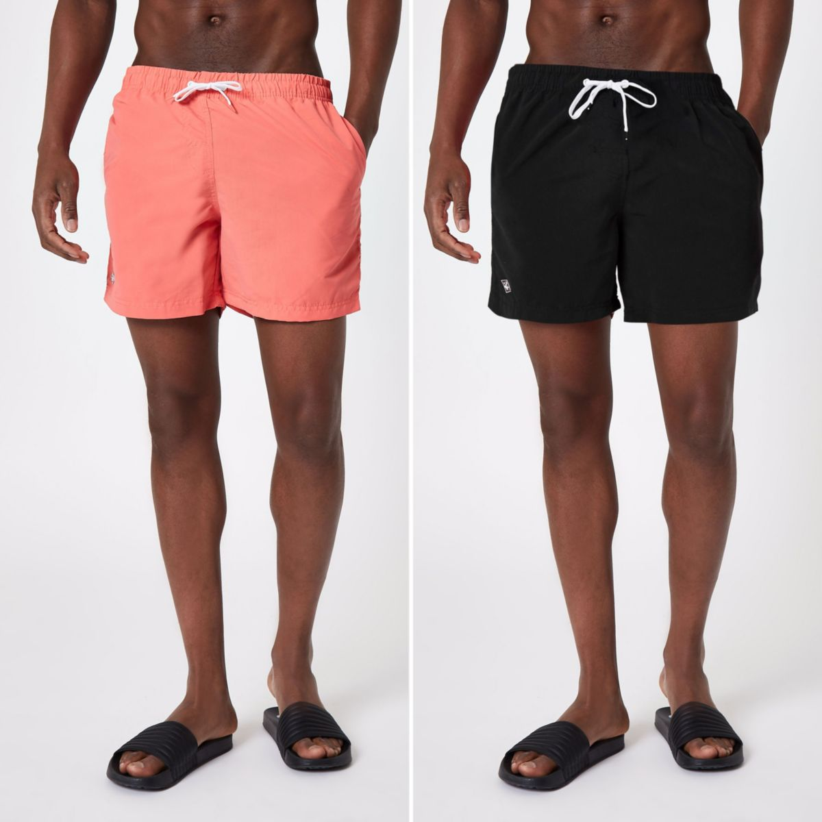 Black and coral swim trunks pack