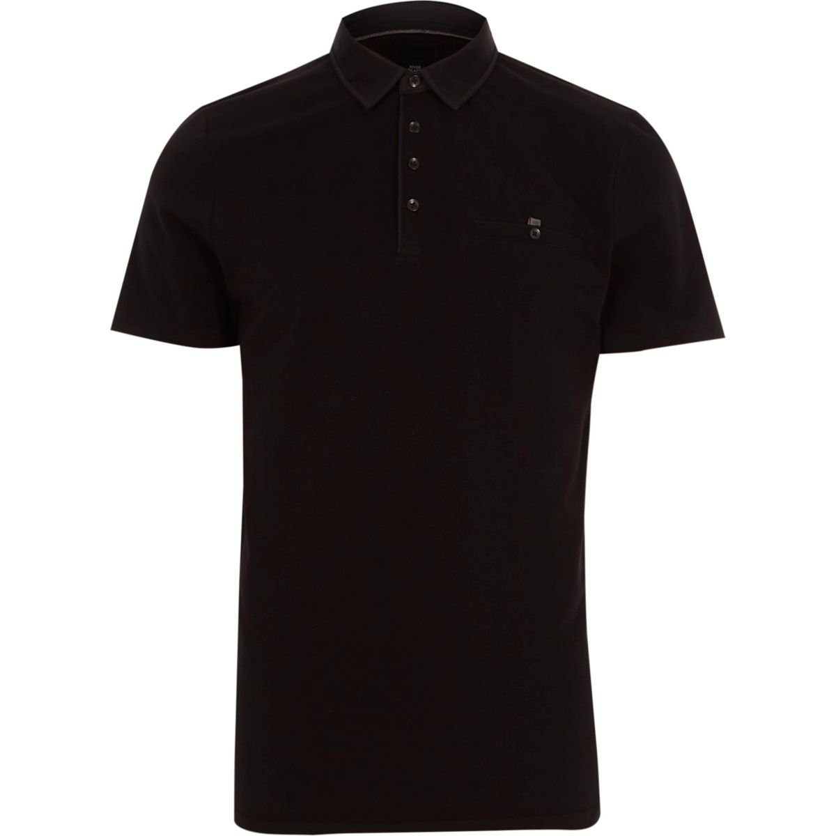 Black slim fit short sleeve polo shirt