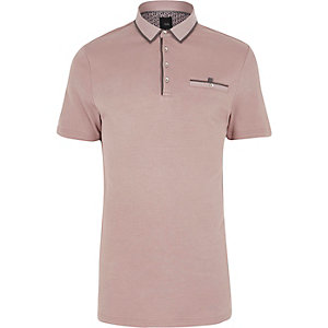 Roze slim-fit poloshirt