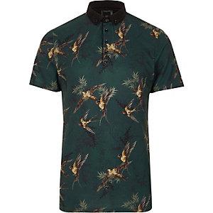 Slim Fit Polohemd mit Vogelmuster