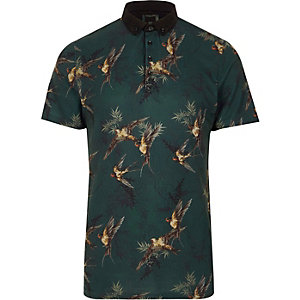 Dark green bird print slim fit polo shirt
