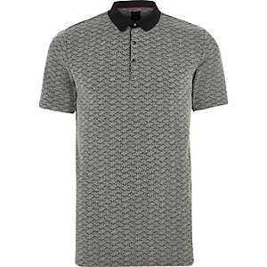 Grey jacquard slim fit polo shirt