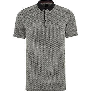 Black jacquard slim fit polo shirt