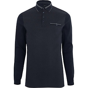 Navy geo block long sleeve slim polo shirt