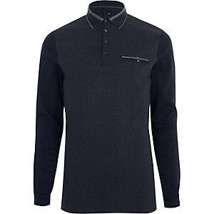 Navy geo block long sleeve slim polo shirt