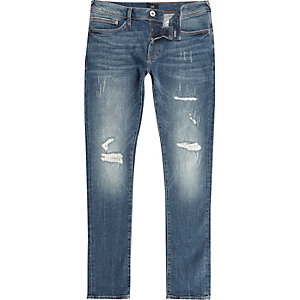 Mid blue Danny distressed super skinny jeans