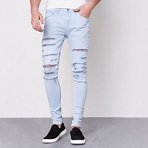 Blue Ollie ripped super skinny spray on jeans
