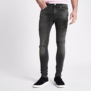 Danny – Schwarz Superskinny Jeans im Used Look
