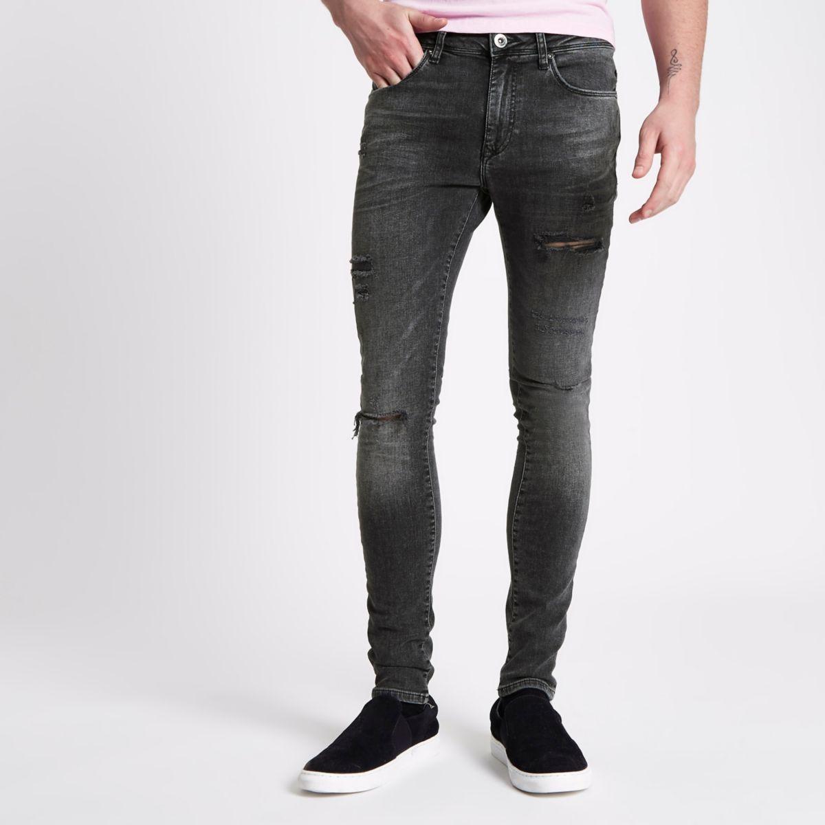 Danny – Jean super skinny noir délavé déchiré