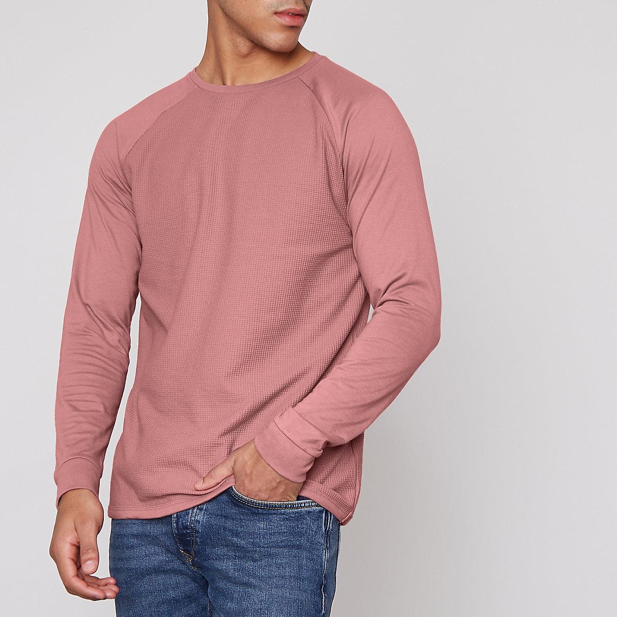 Pink waffle long raglan sleeve T-shirt