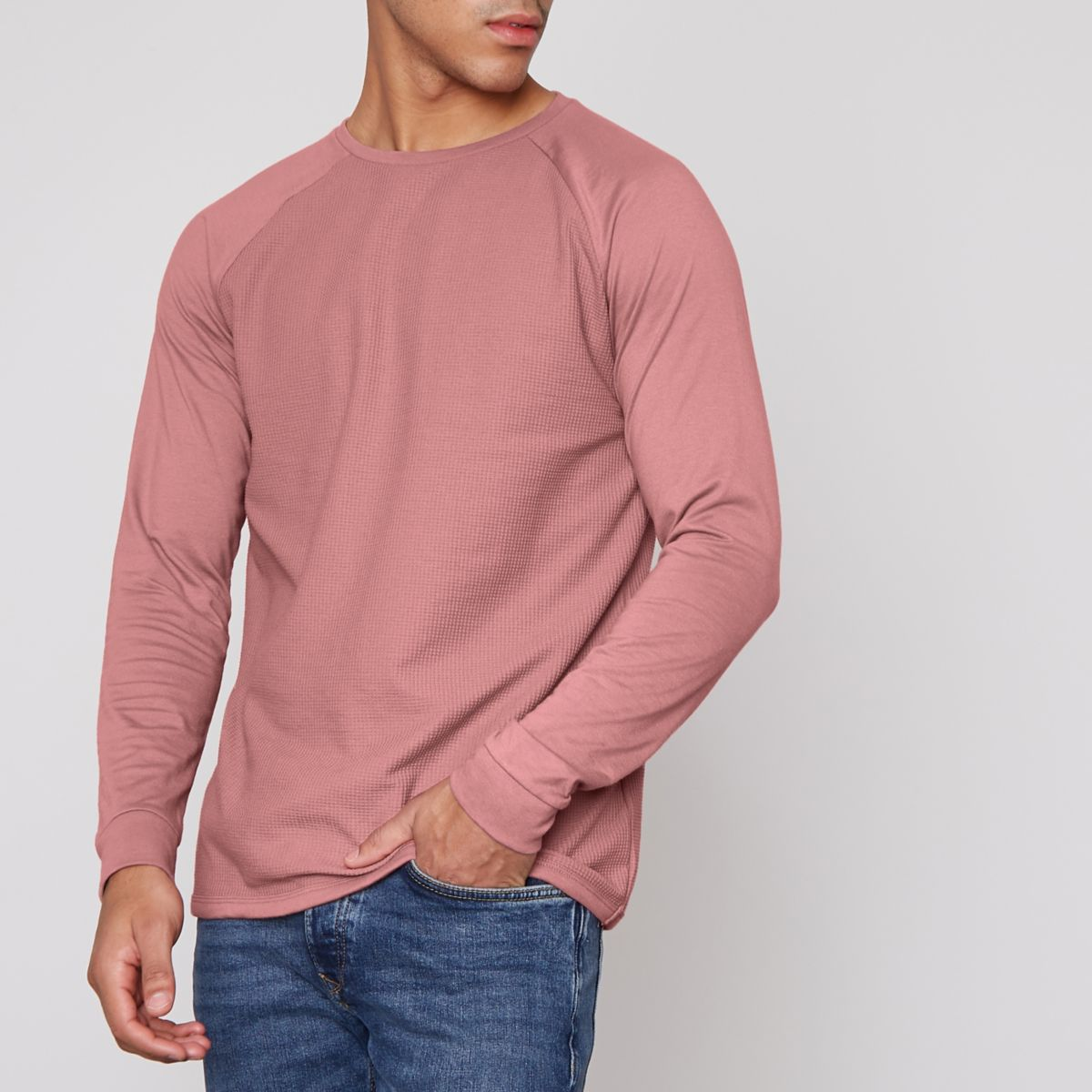 Pink waffle long raglan sleeve t shirt t shirts vests for Mens long sleeve t shirts sale