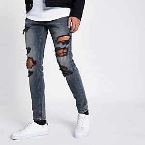 Sid - Middenblauwe ripped skinny jeans