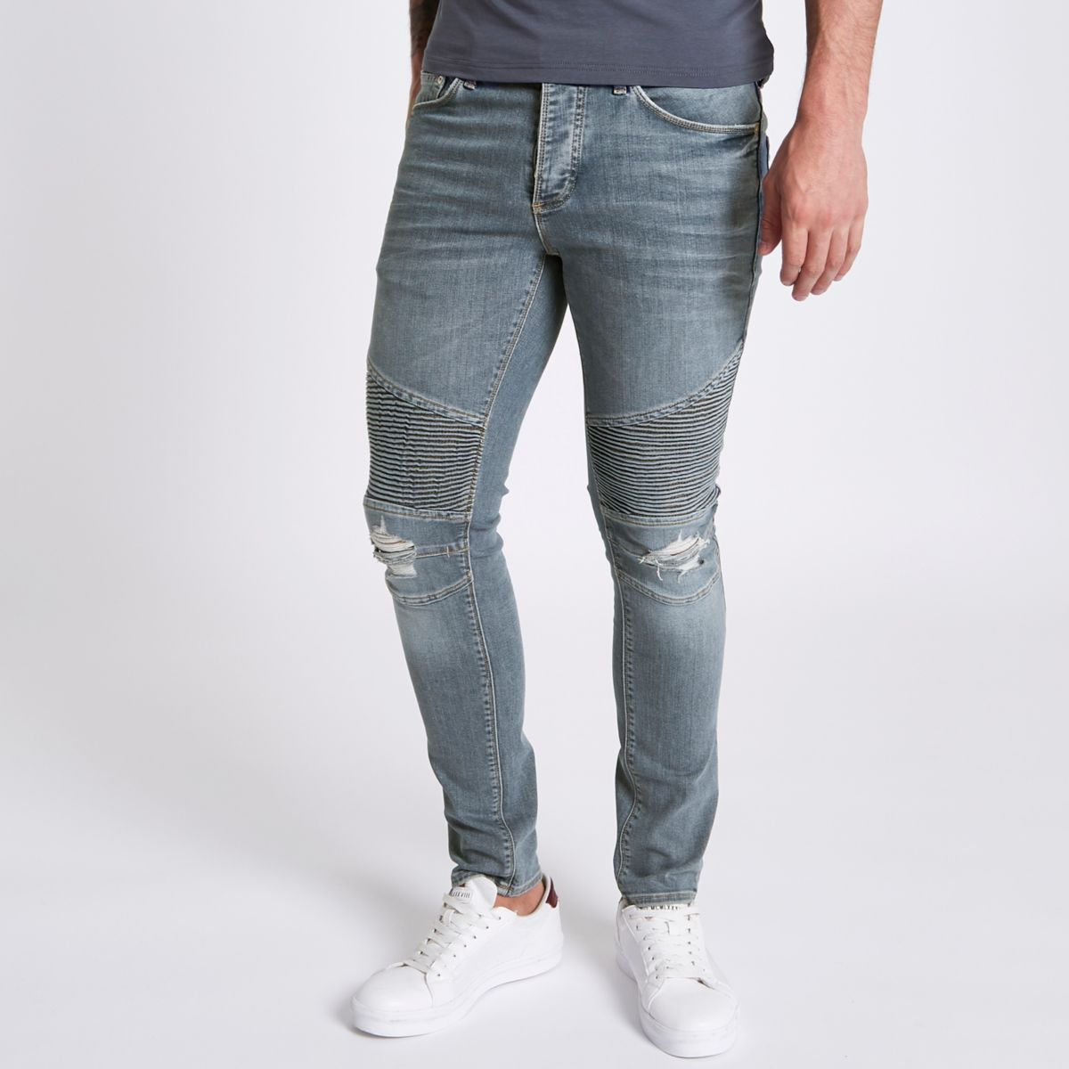 Mid blue biker panel Sid skinny jeans