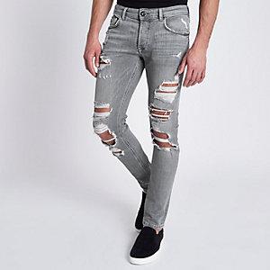 Sid - Grijze ripped skinny jeans