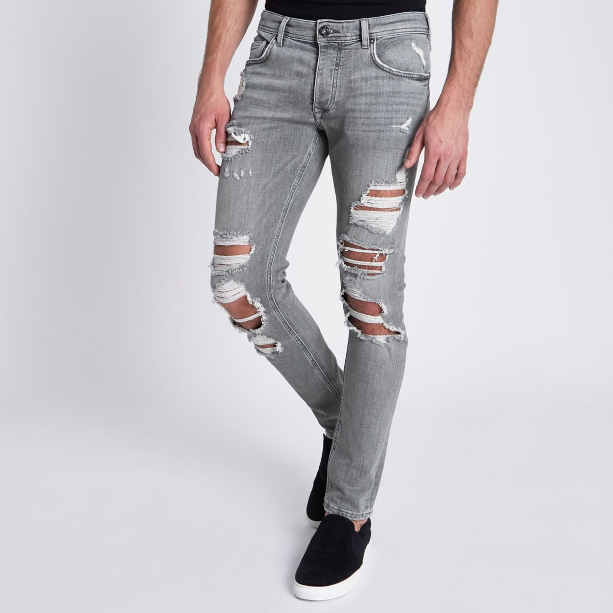 Grey Sid ripped skinny jeans