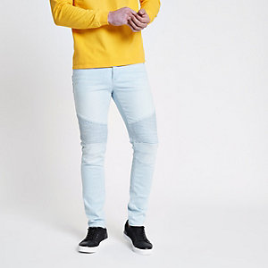 Sid – Jean skinny à empiècement style motard bleu clair