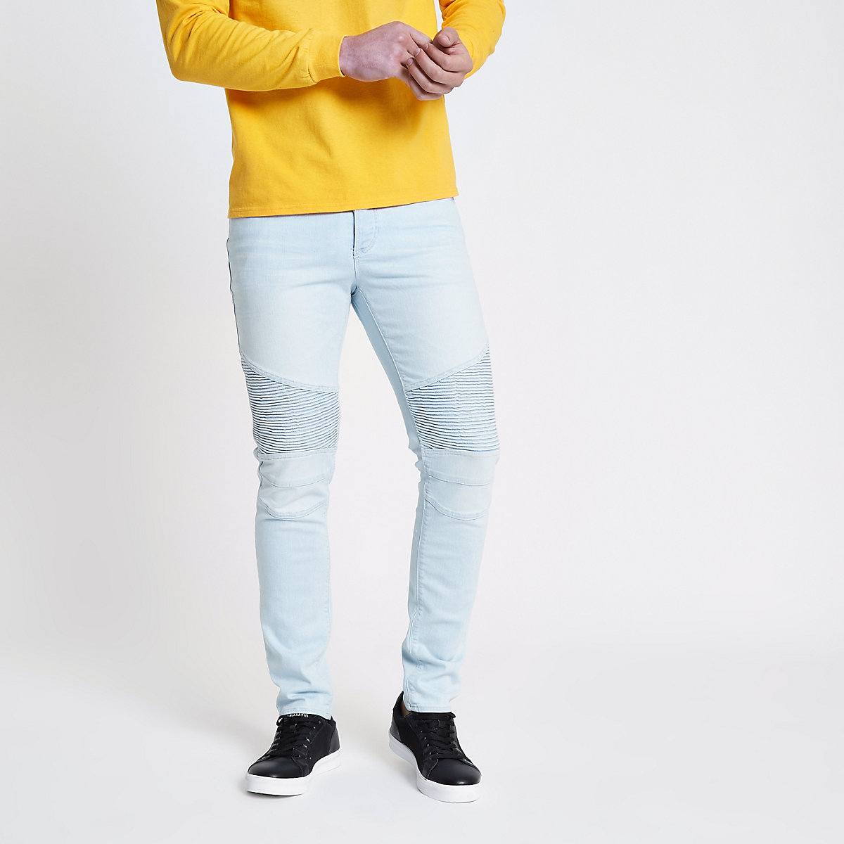 Light blue biker panel Sid skinny jeans
