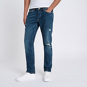 Dylan - Middenblauwe ripped slim-fit jeans