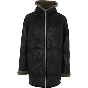 Black faux shearling oversized hooded jacket