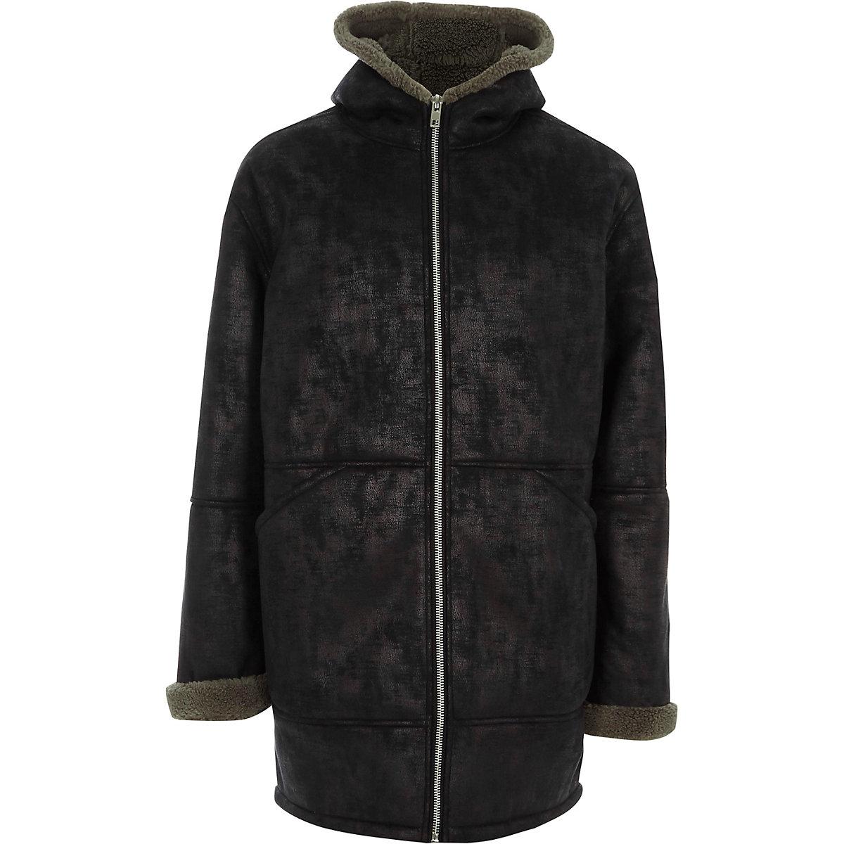 Black faux shearling oversized hooded jacket