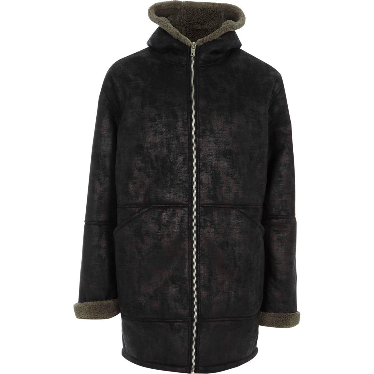 Veste à capuche oversize imitation peau de mouton