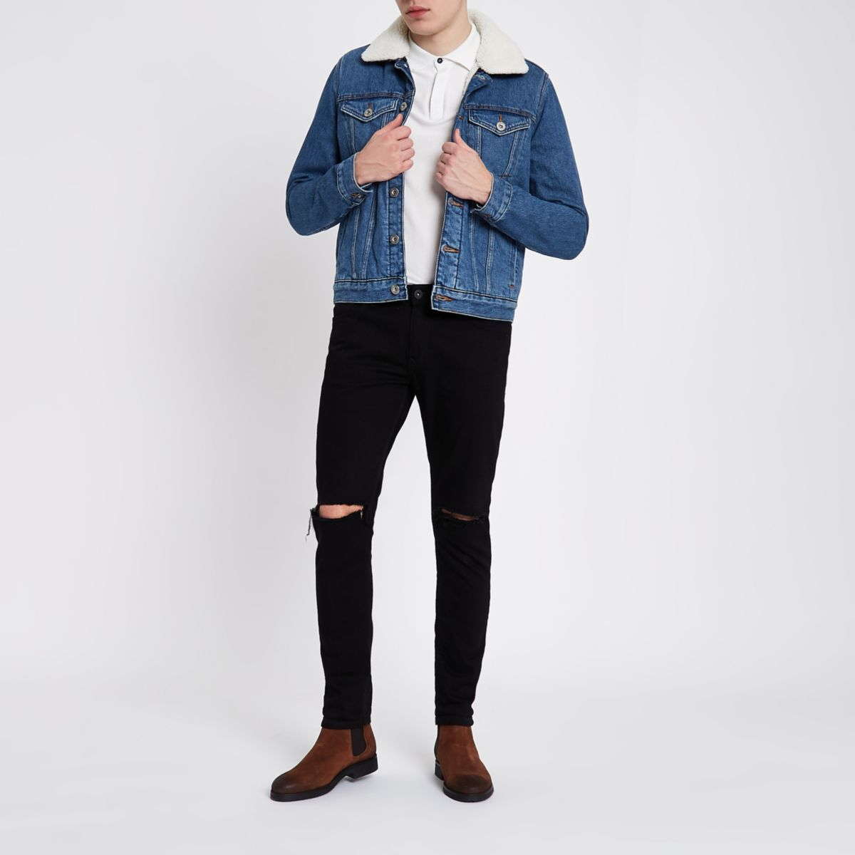 Blue fleece lined denim jacket