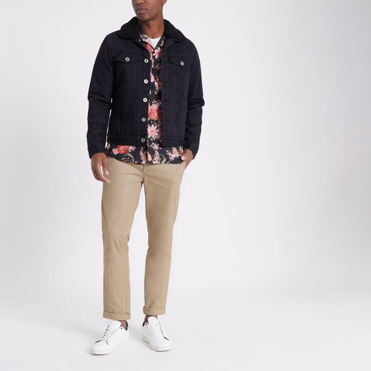 Veste en jean noire avec doublure imitation mouton