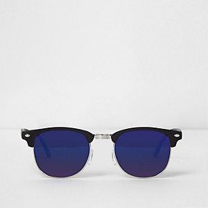 Zwarte retro zonnebril met half montuur en blauwe spiegelglazen