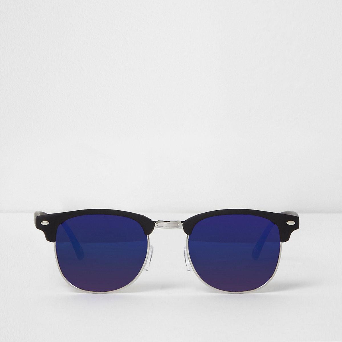 Black retro frame blue mirror lens sunglasses
