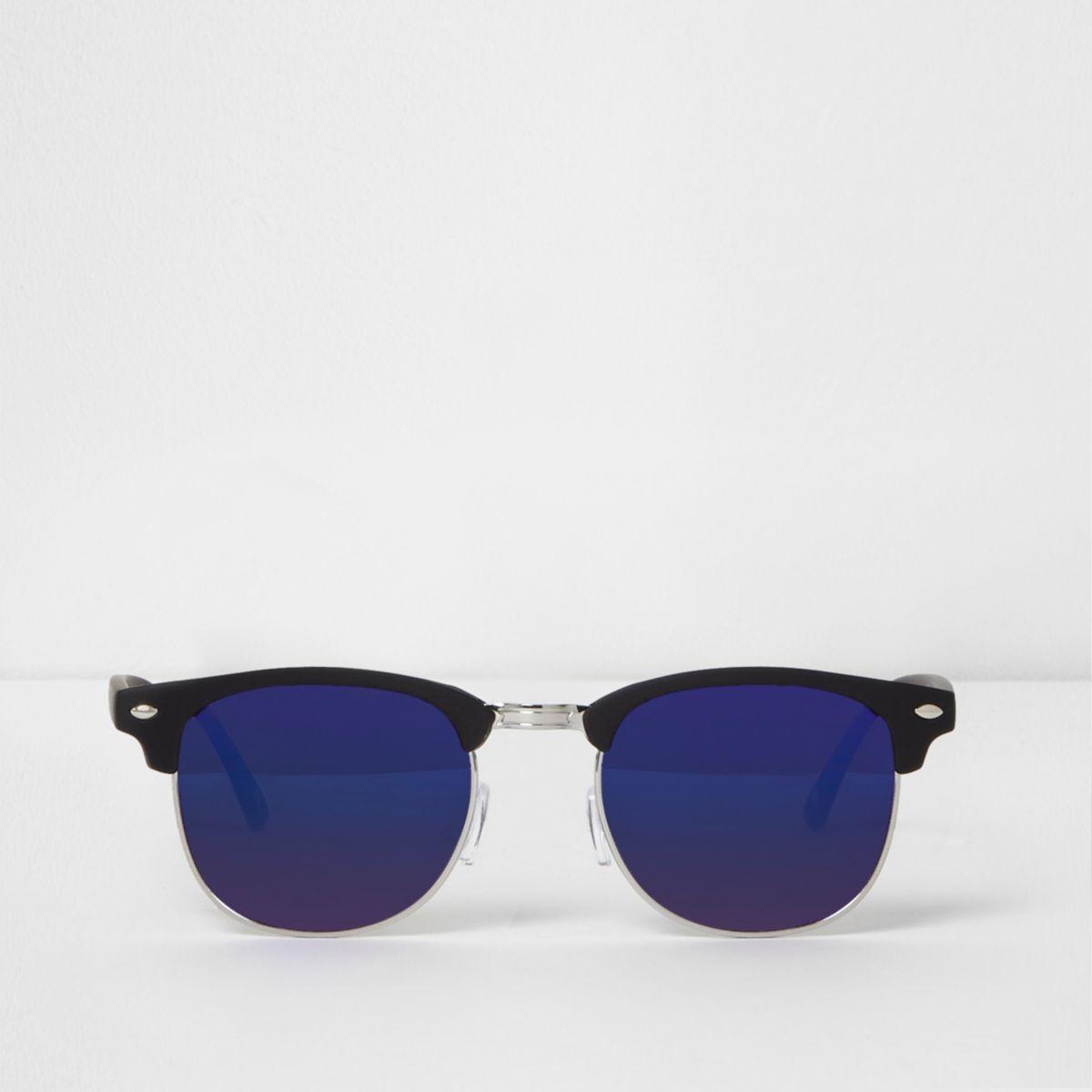 Black half frame retro blue mirror sunglasses