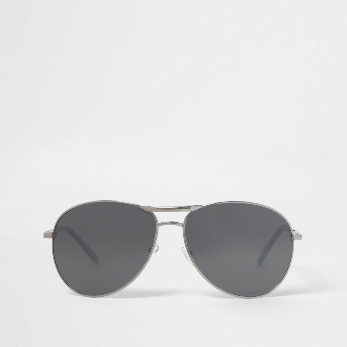Silver tone aviator mirror sunglasses