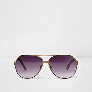 Bronze tone aviator sunglasses