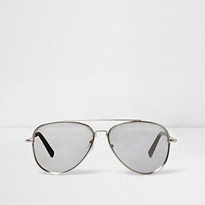 Silver tone mirror lens aviator sunglasses