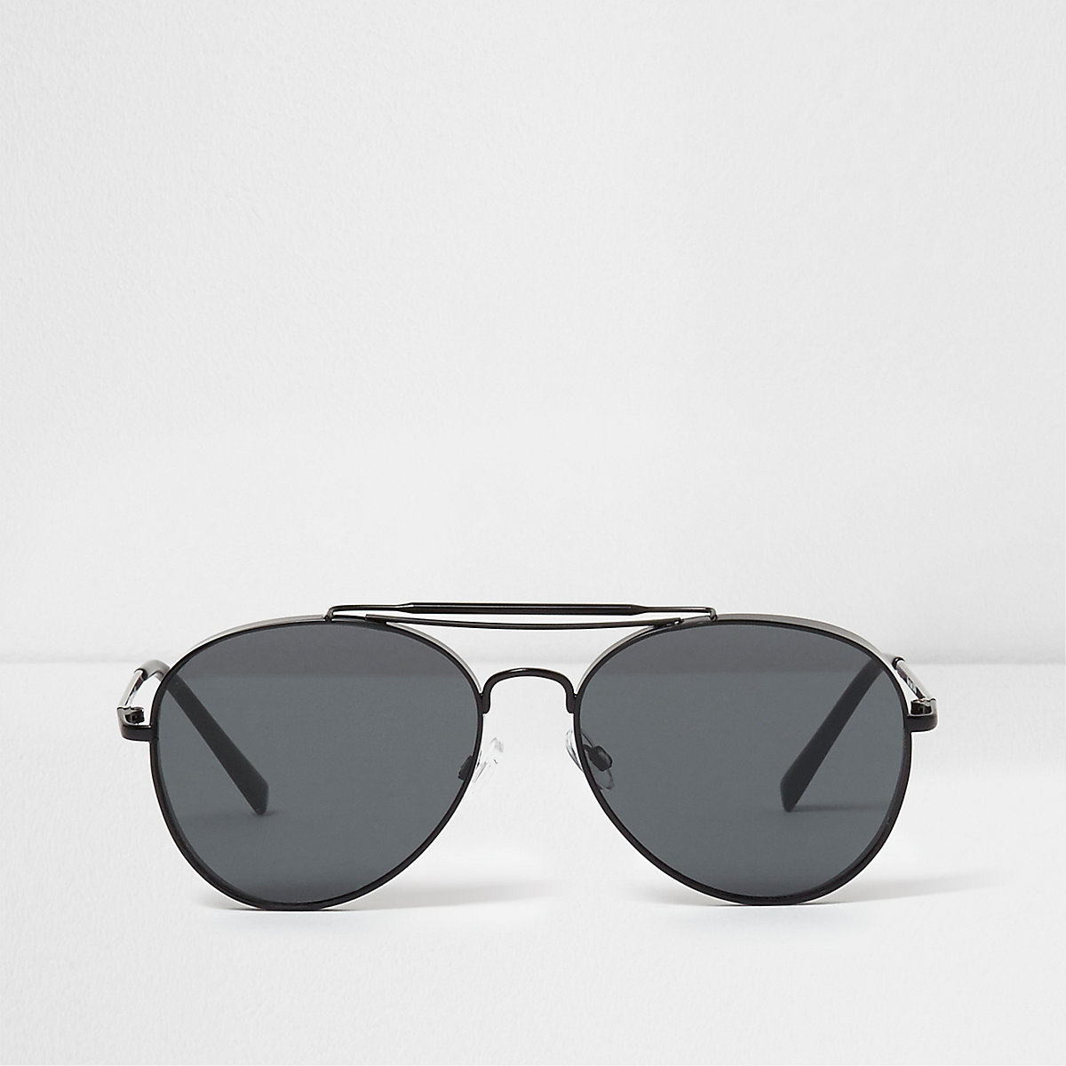 Black smoke lens oval aviator sunglasses