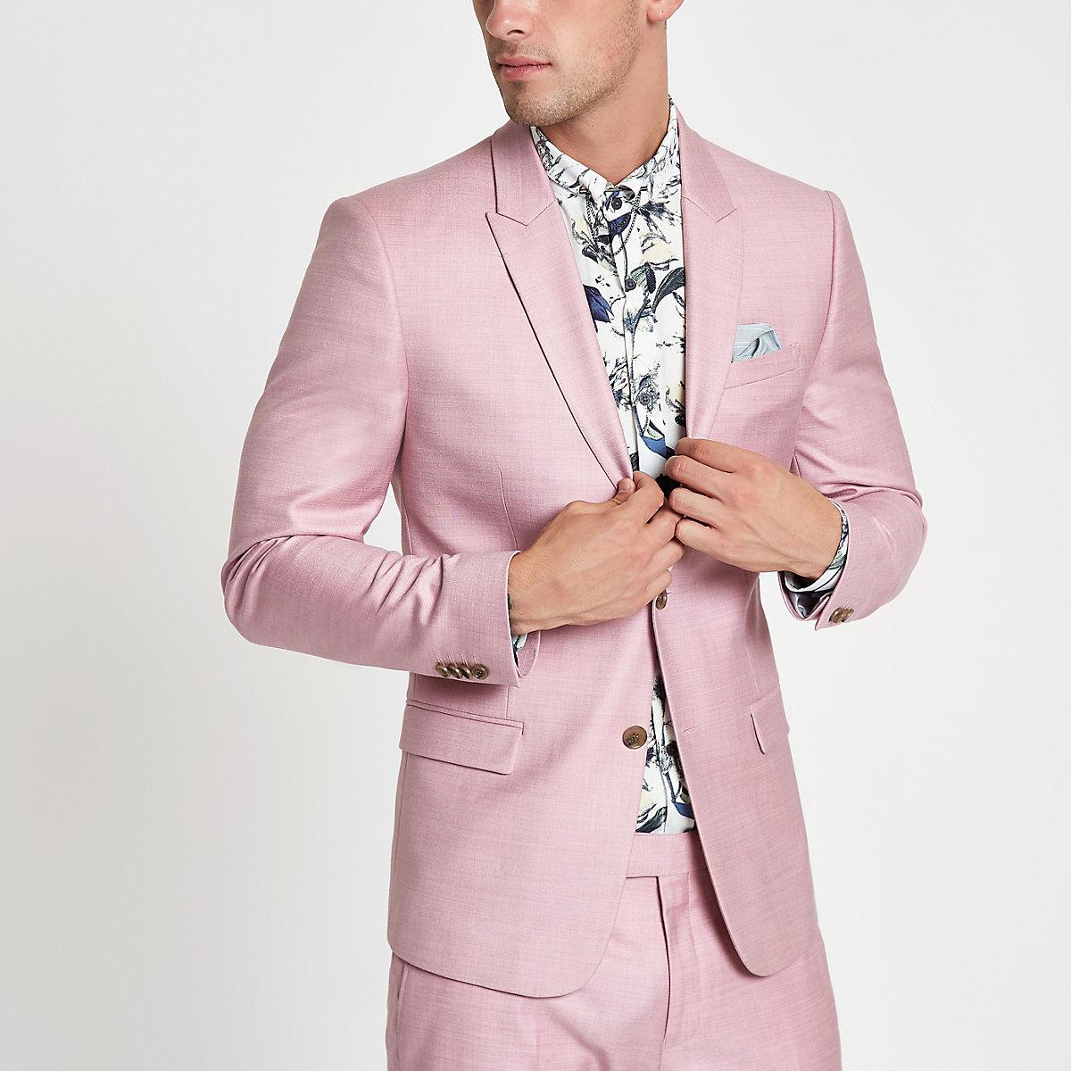Pink skinny suit jacket