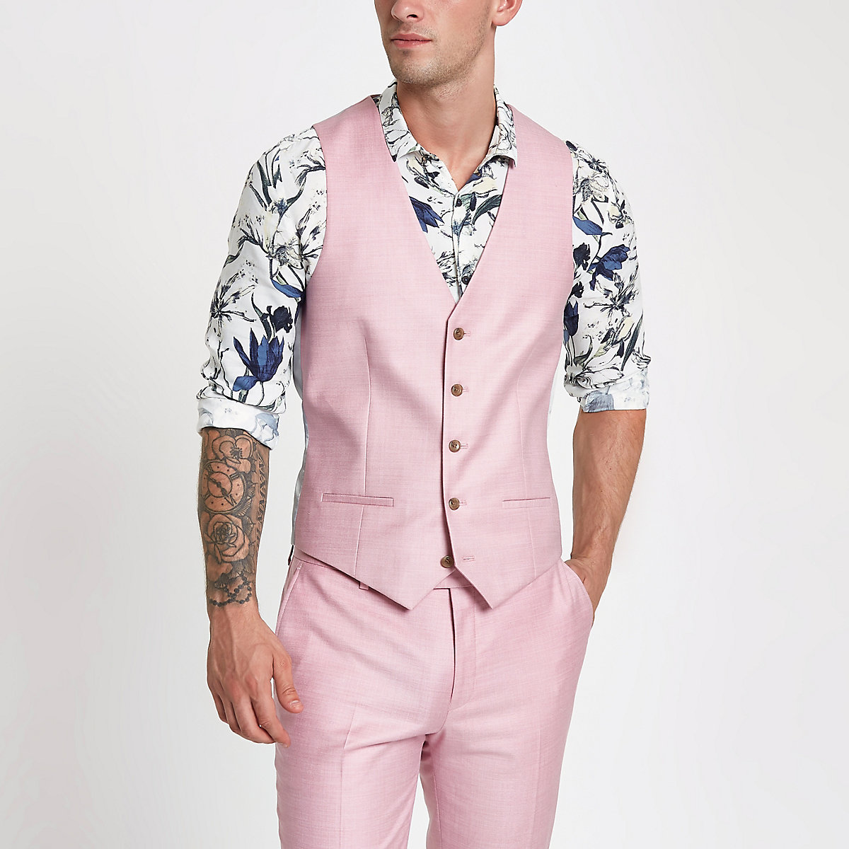 Pink single-breasted vest