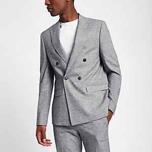 Veste de costume gris clair croisée