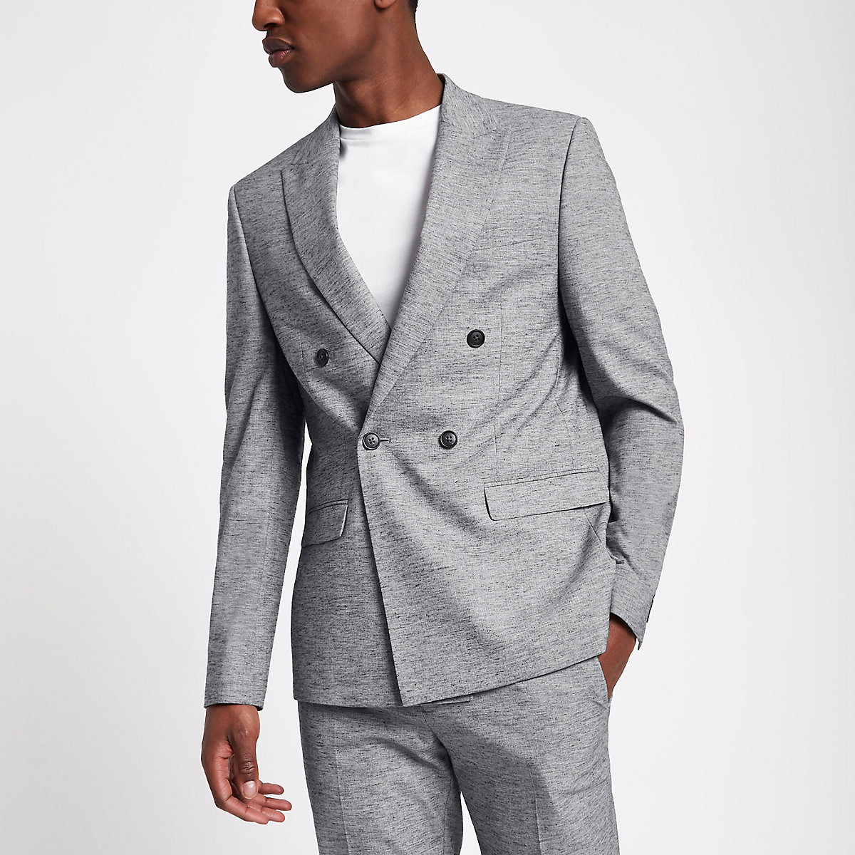 Light grey double breasted suit jacket