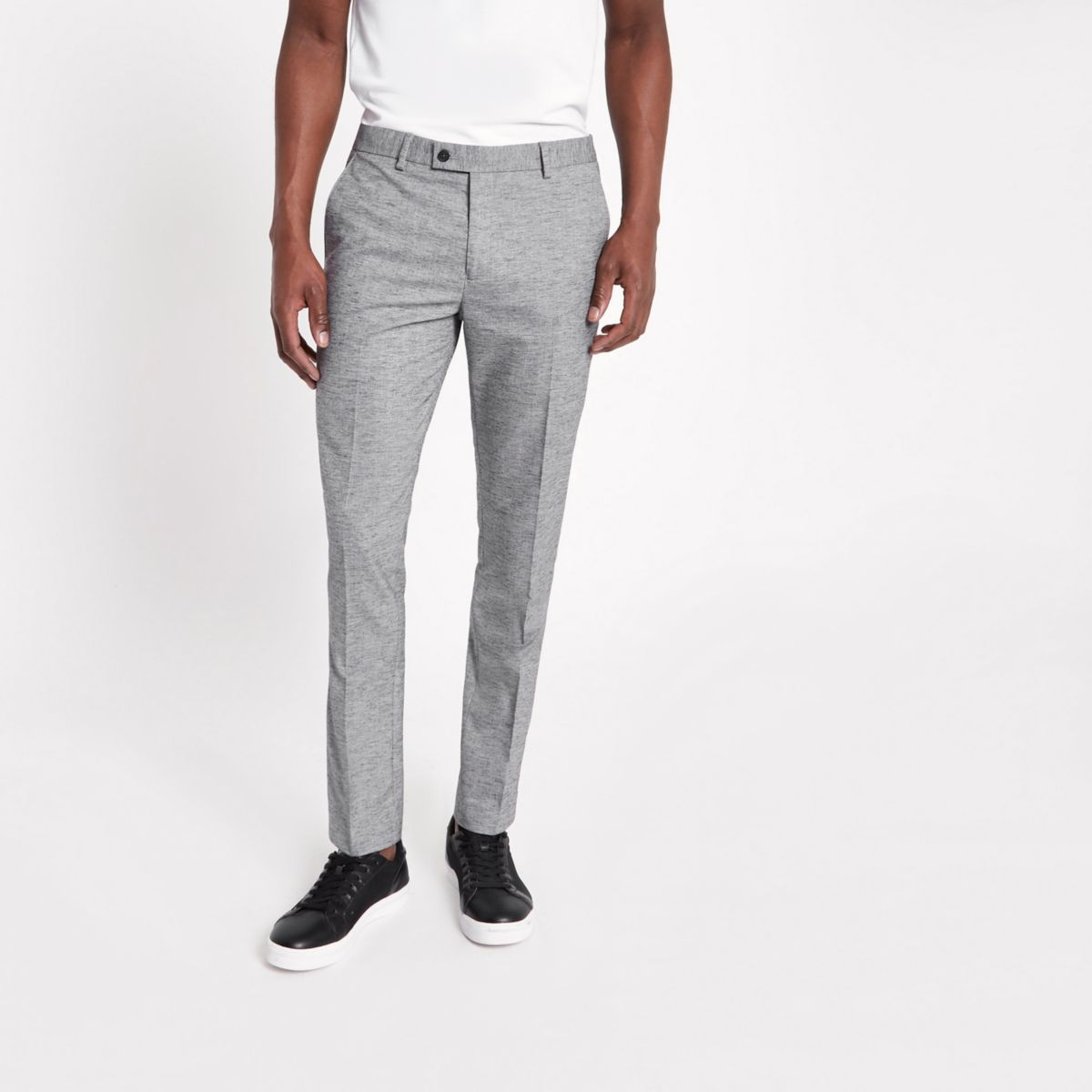 Light grey skinny fit suit trousers