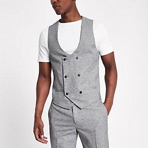 Gilet de costume gris clair à double boutonnage