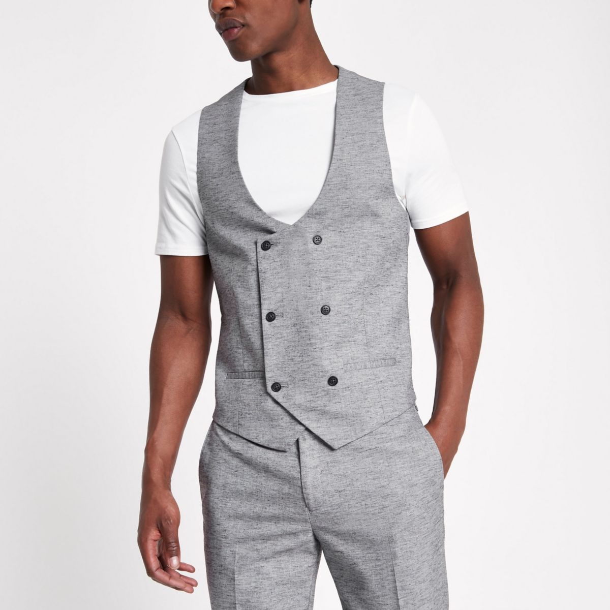 Light grey double breasted suit vest