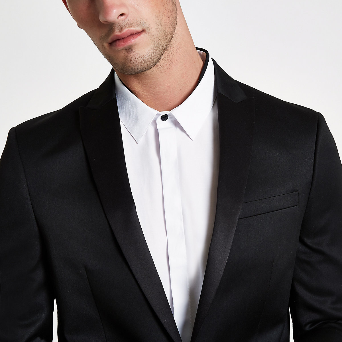 Black satin skinny suit jacket