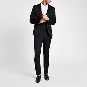 Black satin skinny suit pants