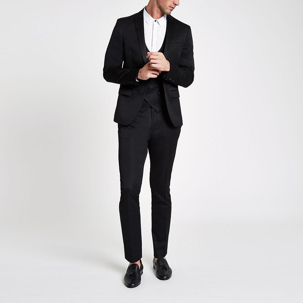 Pantalon de costume skinny en satin noir