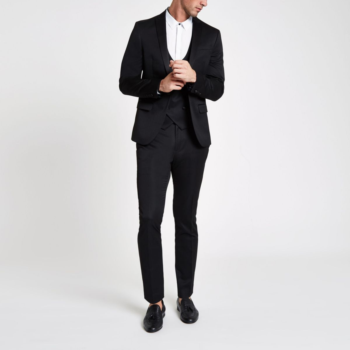 Black satin skinny suit pants