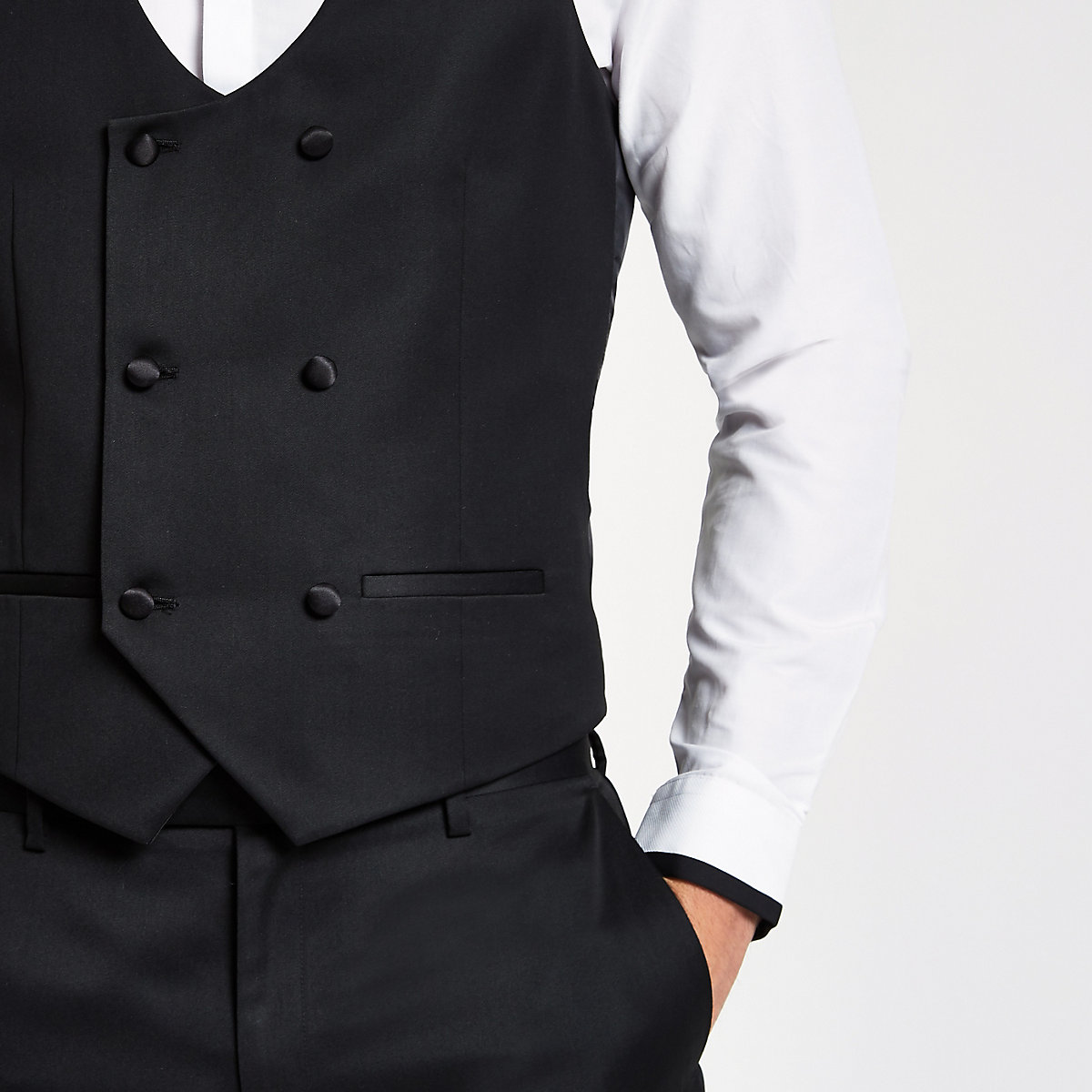Black double-breasted vest