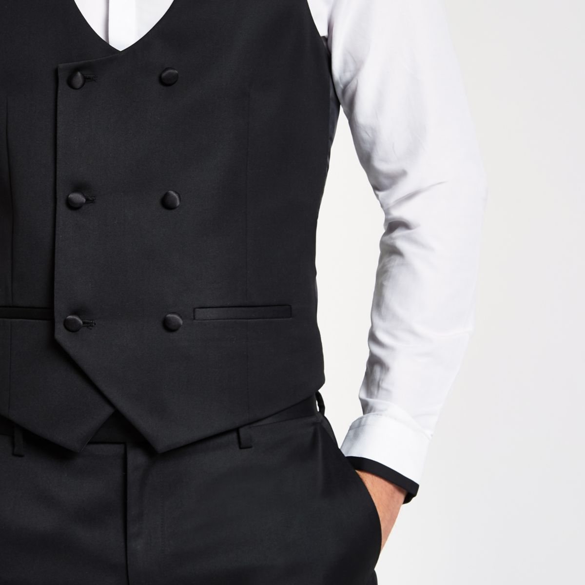 waistcoat Black breasted double Black double qqwa8BZ