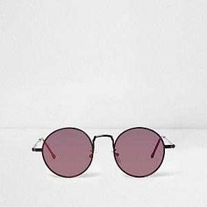 Zwarte retro zonnebril met ronde spiegelglazen